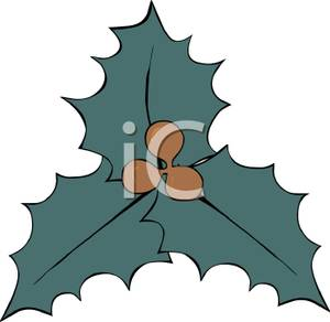 Cartoon_Blue_Green_Holly_with_Brown_Berries_Royalty_Free_Clipart_Picture_101125.
