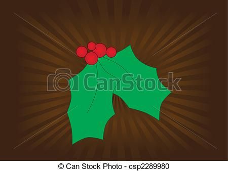 Vector Clipart of Graphic mistletoe on a brown background with.