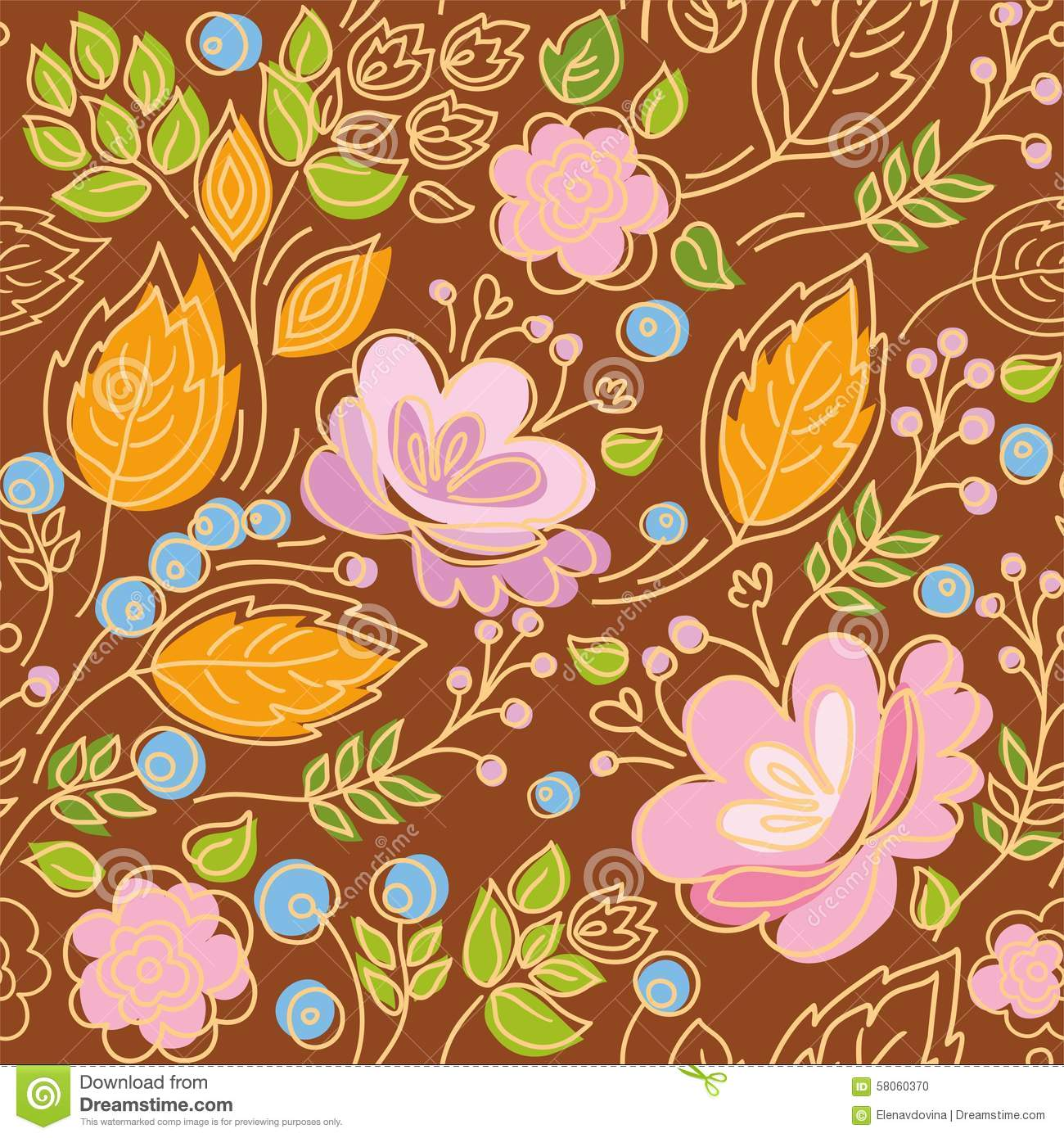 Seamless Pattern, Contour, Pink Flowers, Yellow Leaves, Blue.