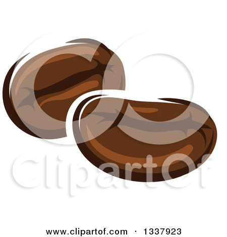 Clipart of a Cartoon Face, Hands, Coffee Berries and Beans.