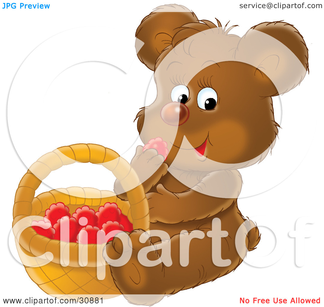 Clipart Illustration of a Hungry Brown Bear Cub Sitting And Eating.