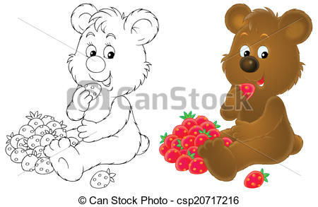 Clipart of Bear cub with berries.