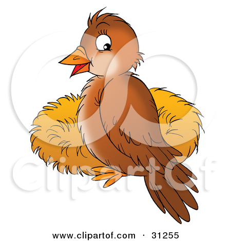 Clipart Illustration of a Brown Bird Flying Away From A Nest With.