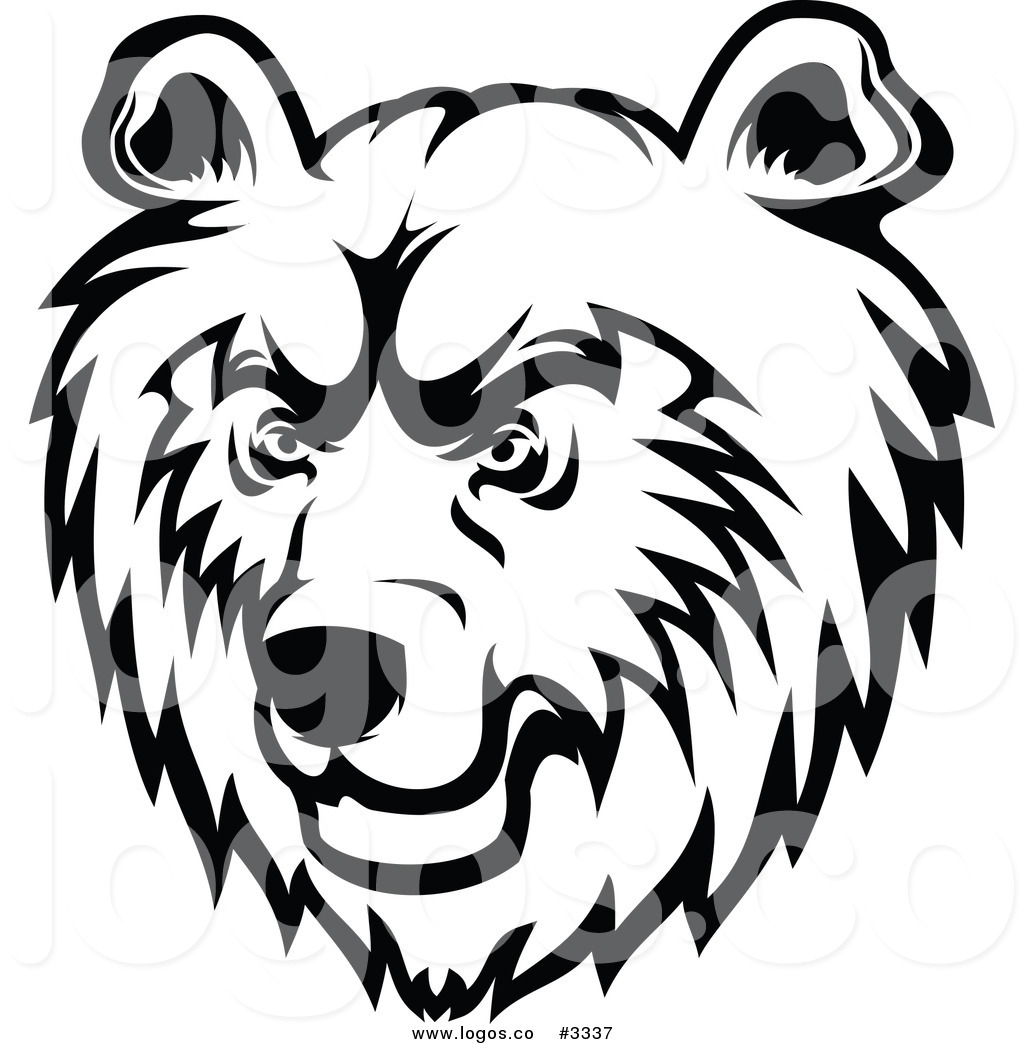 Brown bear head clipart black and white.