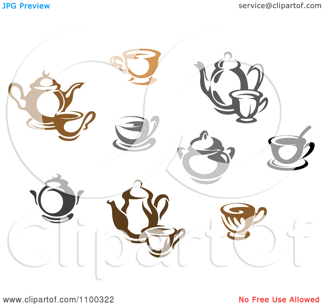 Clipart Brown Black And White And Gray Tea Icons.