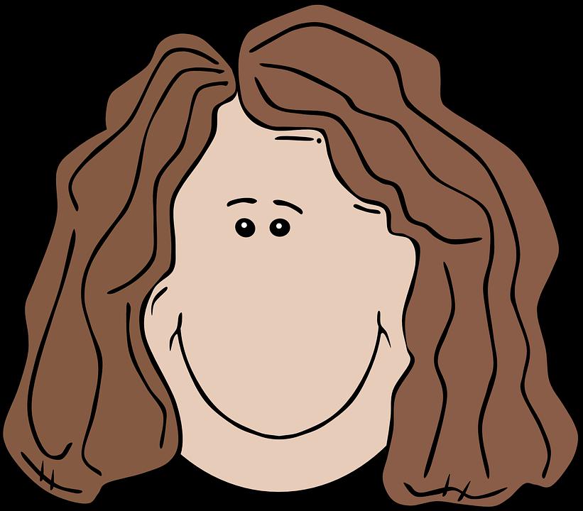 Straight hair light brown black woman clipart.