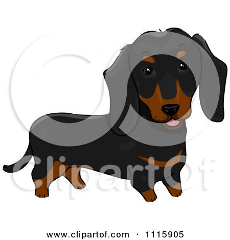 Brown black cute dog clipart.