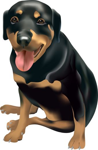 Black and brown dog clipart.