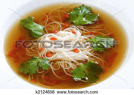Pictures of Bowl of noodle soup with beef broth k2124658.