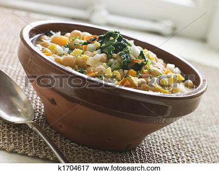 Picture of Bowl of Silverbeet and Chickpea Broth k1704617.