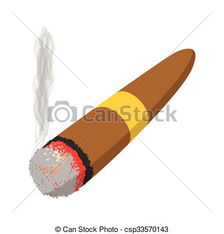 EPS Vector of Brown cigar burned cartoon icon on a white.