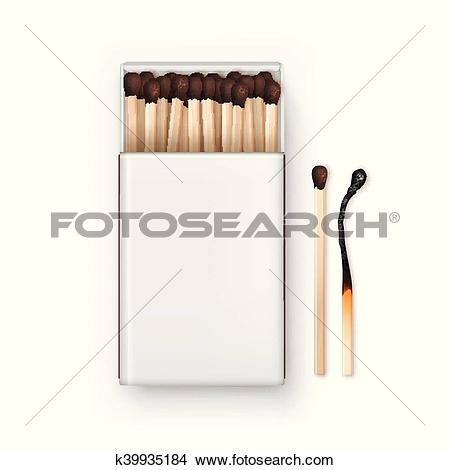 Clipart of Vector Opened Blank Box Of Brown Matches with Burned.