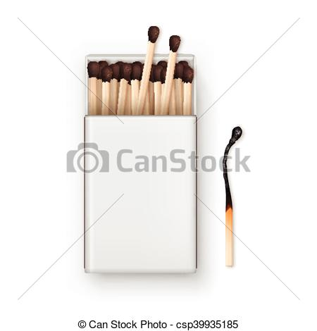 Vector of Vector Opened Blank Box Of Brown Matches with Burned.
