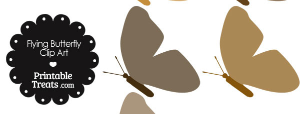 Brown Flying Butterfly Clipart — Printable Treats.com.