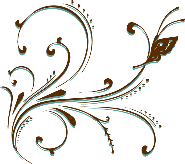 Brown and Blue Butterfly Clip Art.