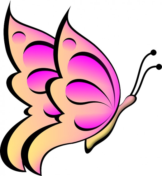 cute clipart butterflies brown and pink #12