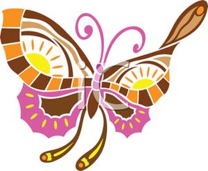 Pink and brown butterfly clipart.