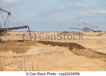 Stock Images of Opencast brown coal mine. Giant excavator..