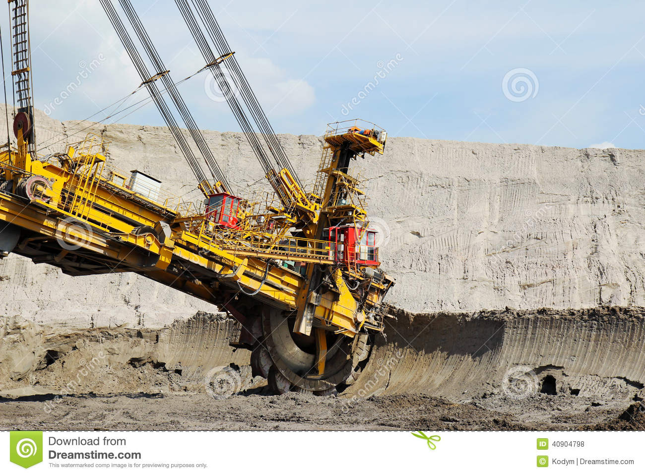 Mining Wheel In Brown Coal Mine Royalty Free Stock Image.