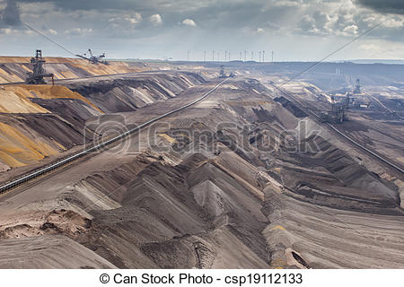 Stock Photos of garzweiler brown coal surface mining germany.