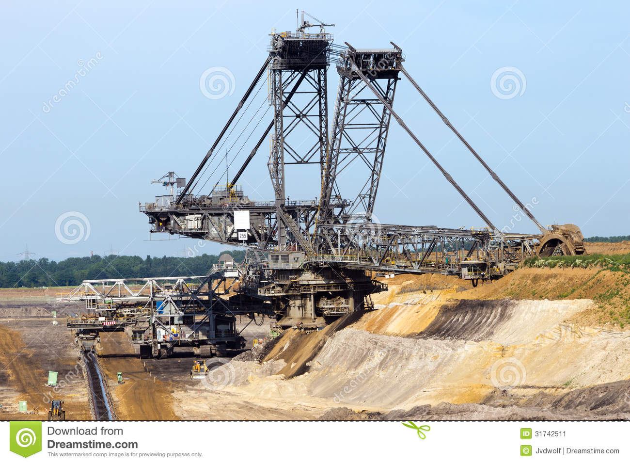 Brown Coal Mining Excavator Stock Image.