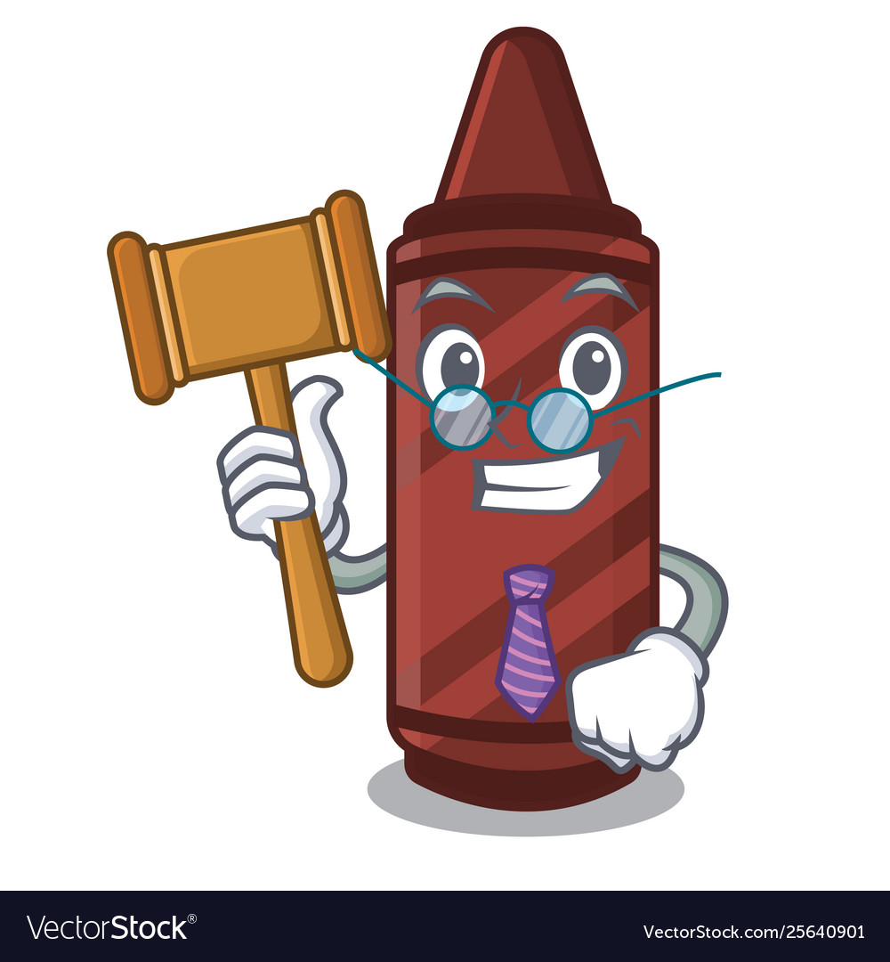 Judge brown crayon in cartoon shape.