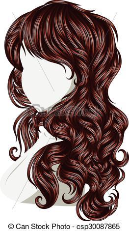 Clip Art Vector of Curly Hair Style.
