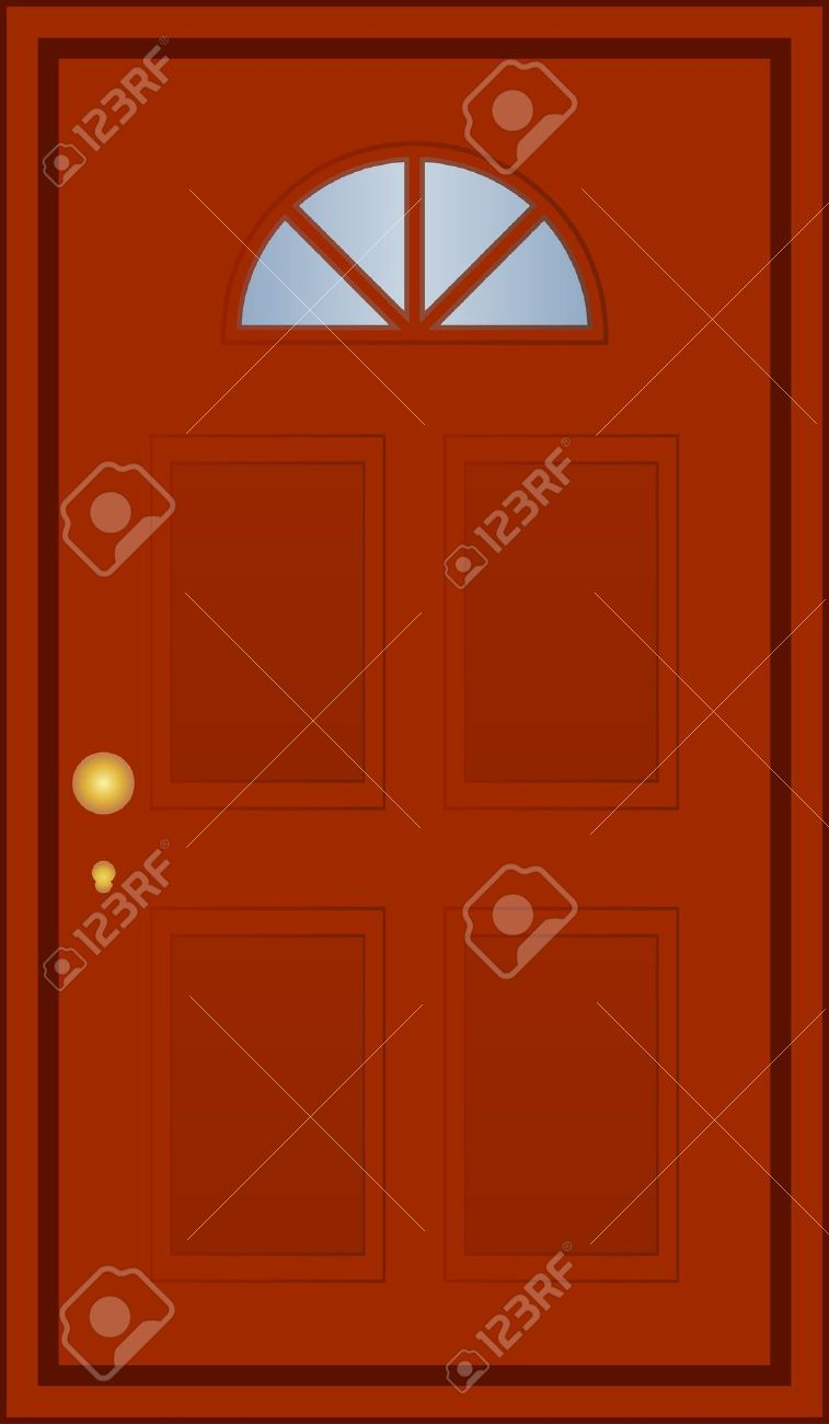 Vector Illustration Of Brown Door Royalty Free Cliparts, Vectors.