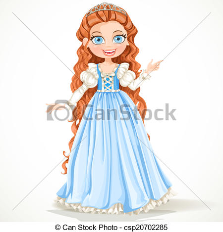 Vector Clipart of Cute young princess with curly brown hair in a.
