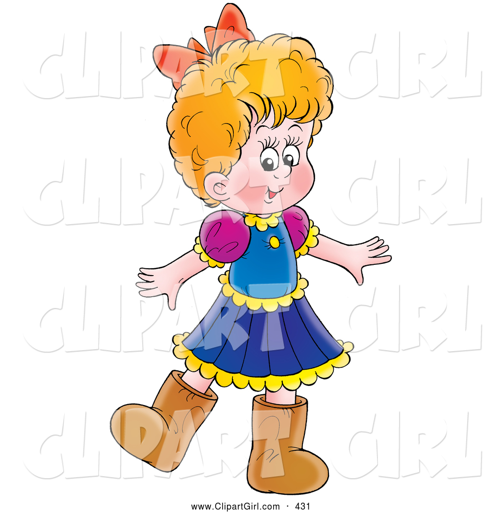 Clip Art of a Little Girl in a Dress and Brown Boots, on White by.