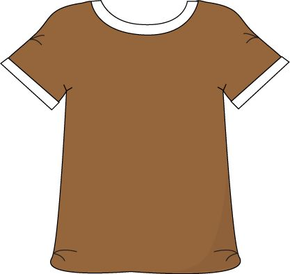 Brown Tshirt with a White Collar with a White Collar.