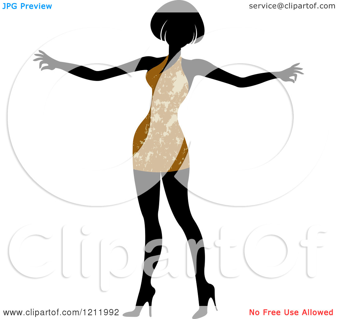 Clipart of a Faceless Woman in a Brown Dress.