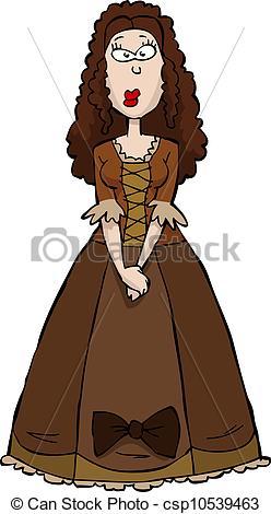 Clip Art Vector of Renaissance Woman in brown dress vector.
