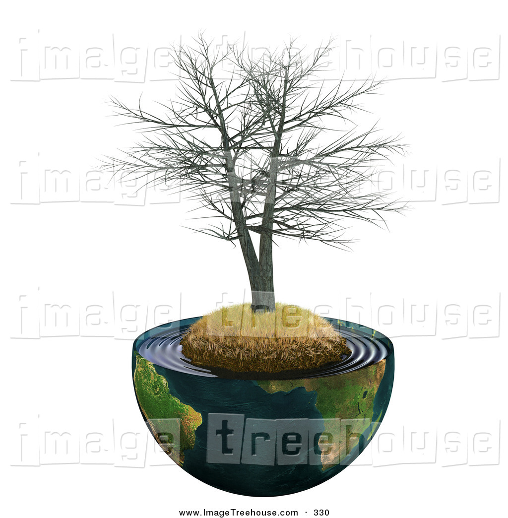 Clipart of a Dead Realistic 3d Tree on a Hill with Dry Brown Grass.