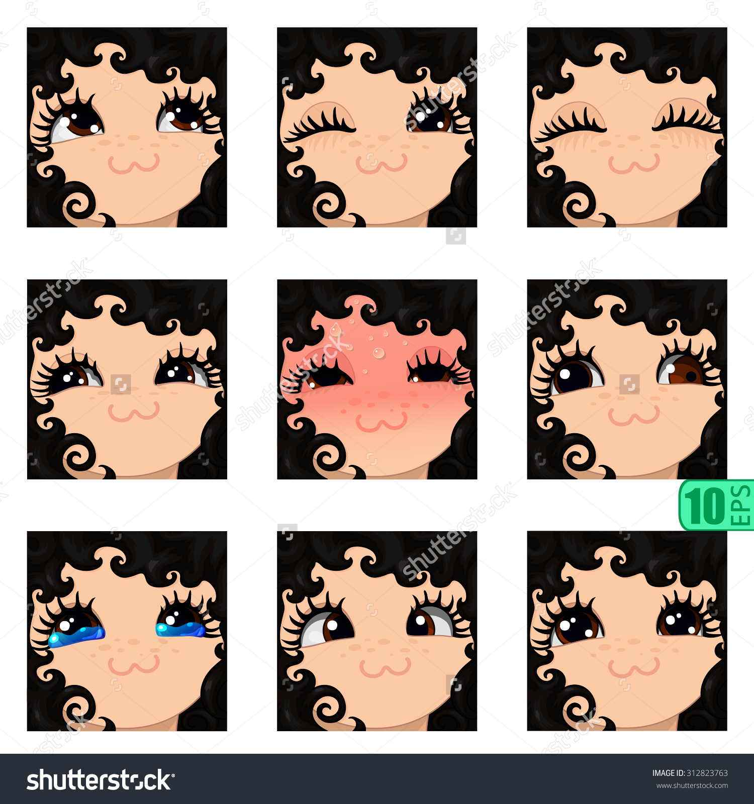 Vector Set Avatars Icons Girl Faces Stock Vector 312823763.