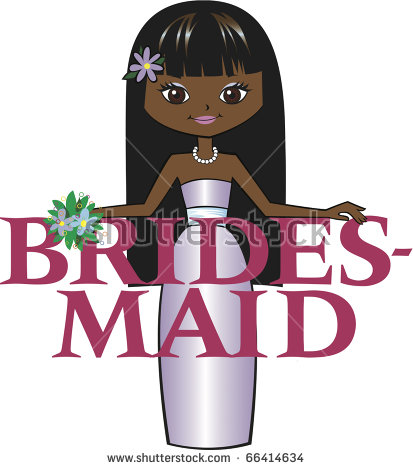 Bridesmaid Med Black Hair Mocha Skin Stock Vector 66414592.