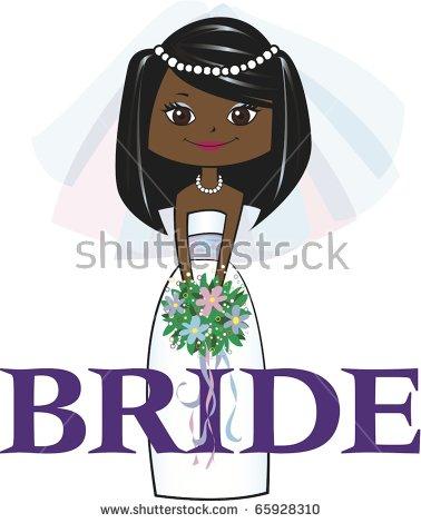 Bridesmaid Long Black Hair Dark Skin Stock Vector 66414634.