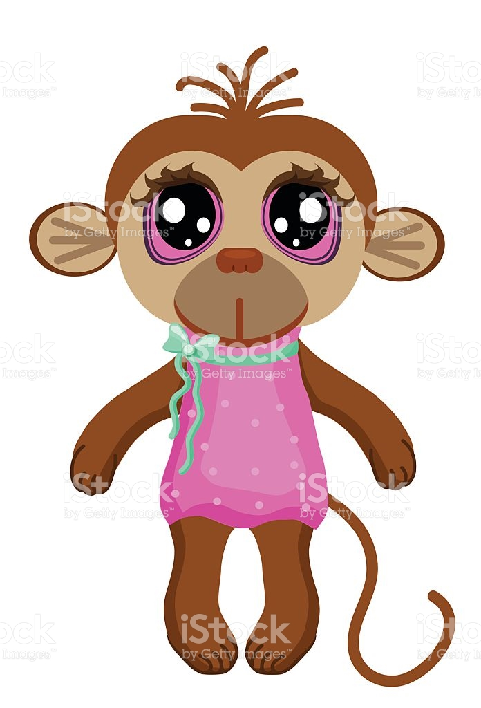 Little Monkey With Big Eyes On A White Backgroundchildren Clipart.