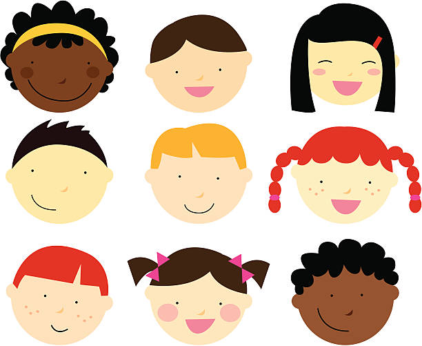 Girls With Blonde Hair And Brown Eyes Clip Art, Vector Images.