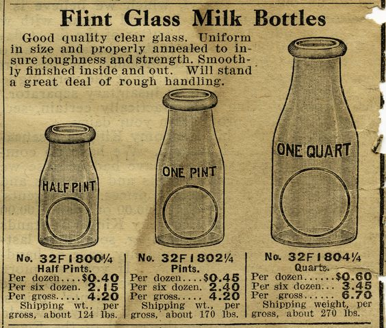 Free Vintage Image Milk Bottles Catalogue Listing and Clip Art.