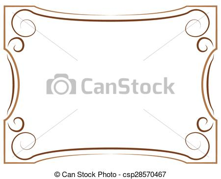 Clip Art Vector of Multilayer vector brown frame on a white.