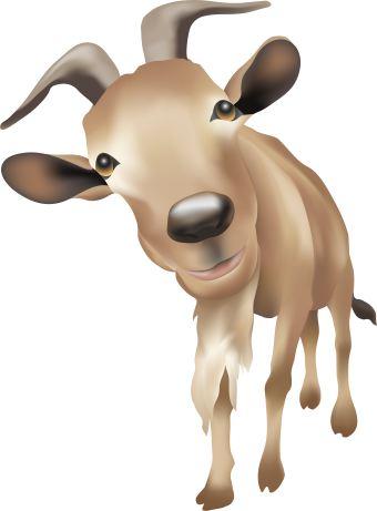 Brown Goat clip art.
