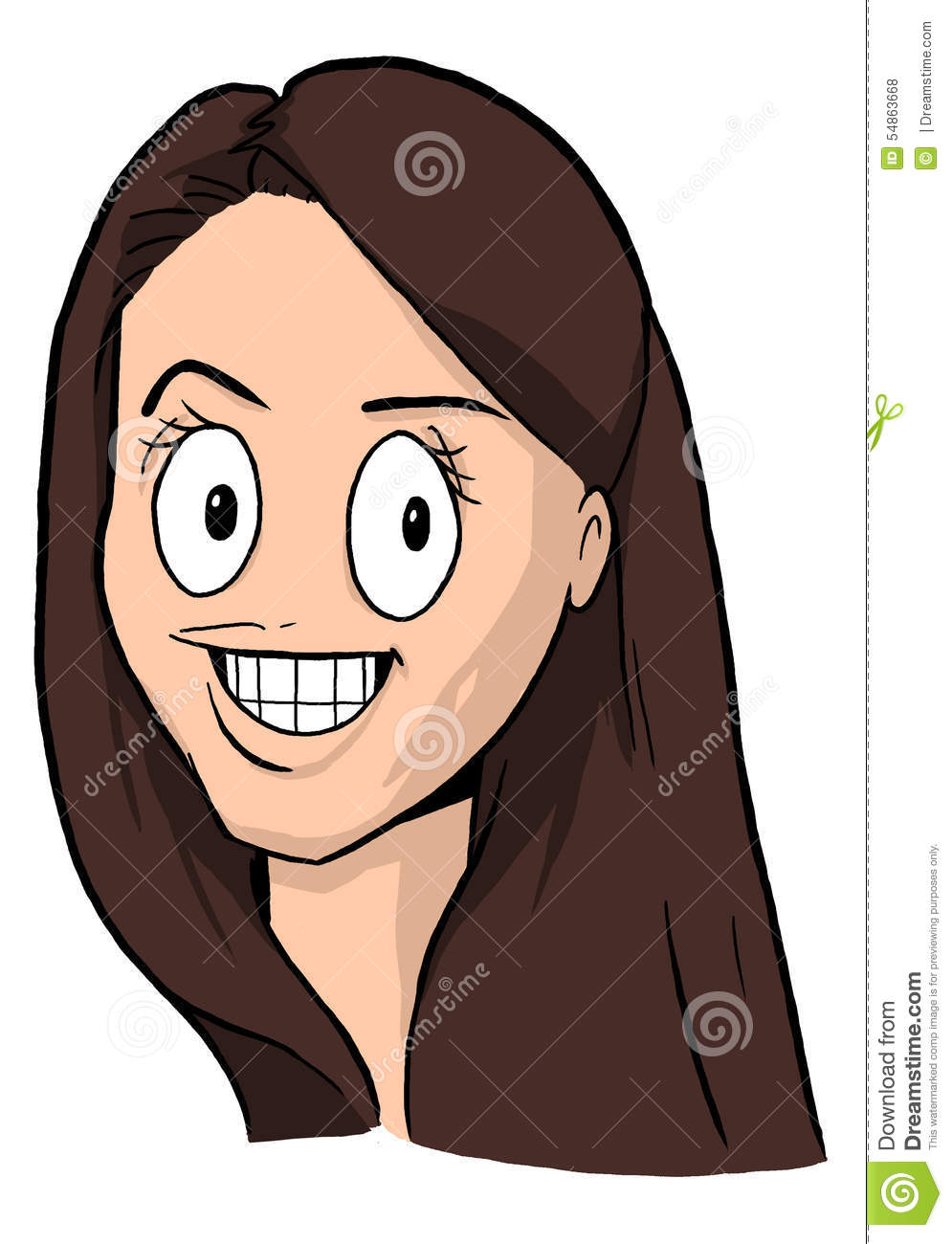 Caricature Of Girl With Dark Brown Hair, Big Eyes And Big Smile.
