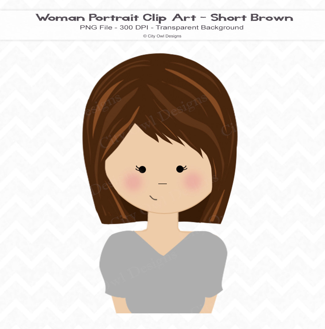 Women with blue eyes brown hair clipart.