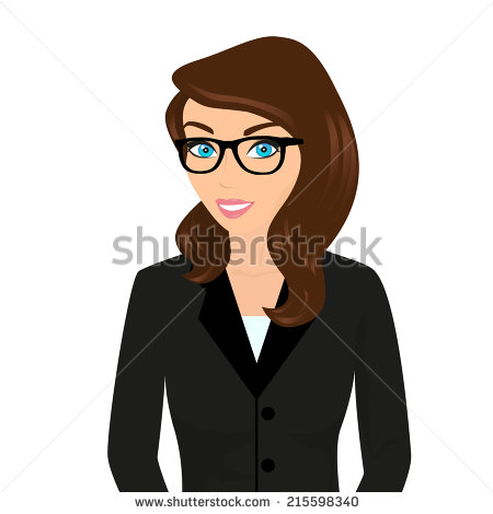 Woman With Brown Hair And Glasses Clipart.