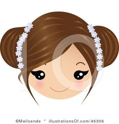 Brown Haired Little Girl Clipart.