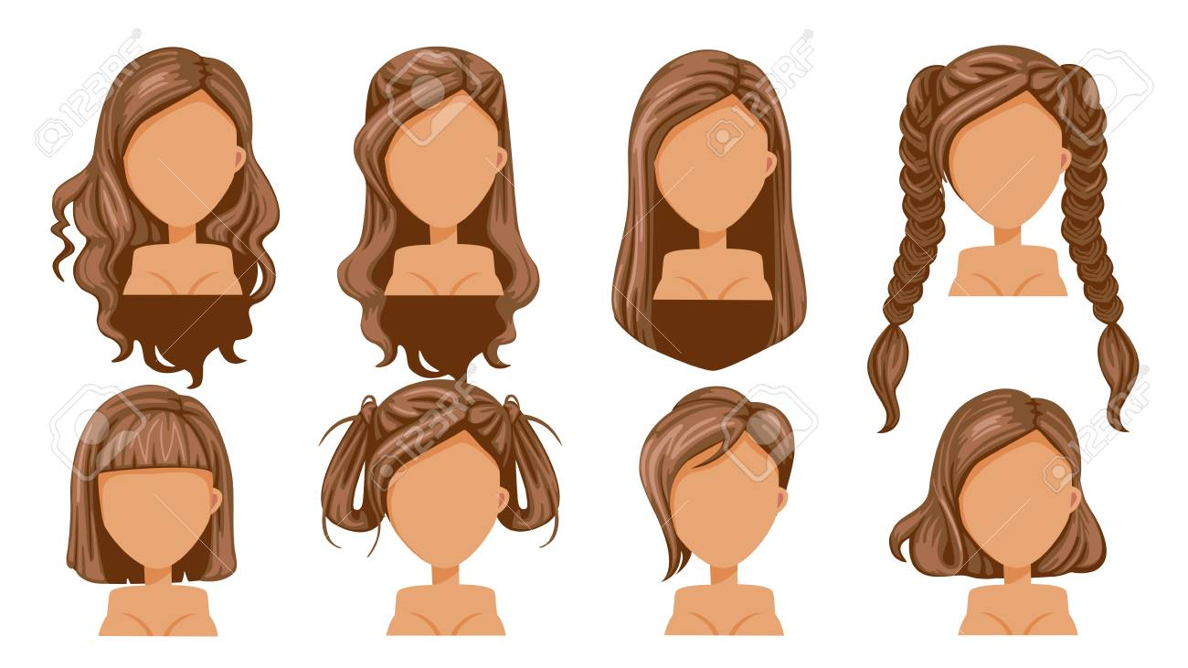brown haired woman clipart #5