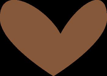 Modern Brown Heart Clip Art.