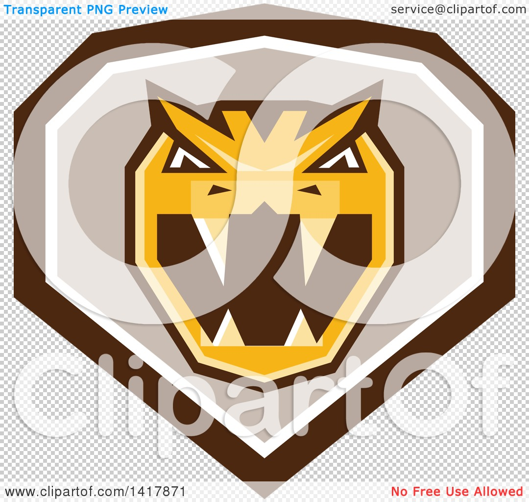 Clipart of a Retro Horned Viper Snake Head in a Brown White and.