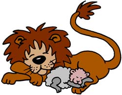 Lion and lamb clip art.